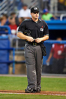 Umpire Ryan Benson during a Midwest League game between the Batavia Muckdogs and Brooklyn Cyclones at Dwyer Stadium on July 27, 2012 in Batavia, New York.  Batavia defeated Brooklyn 2-0.  (Mike Janes/Four Seam Images)