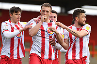 Luke Norris of Stevenage FC scores the third Goal and celebrates during Stevenage vs Barrow, Sky Bet EFL League 2 Football at the Lamex Stadium on 27th March 2021
