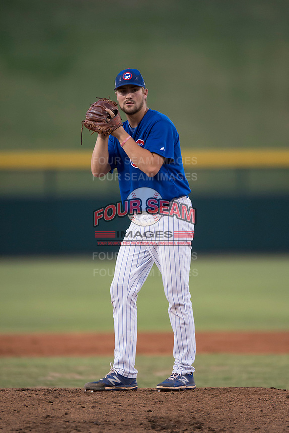 AZL Cubs 1 starting pitcher Peyton Remy (54) prepares to deliver a pitch during an Arizona League game against the AZL Cubs 1 at Sloan Park on June 28, 2018 in Mesa, Arizona. The AZL Athletics defeated the AZL Cubs 1 5-4. (Zachary Lucy/Four Seam Images)
