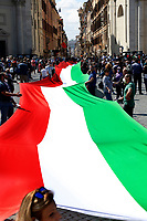 Roma June 2nd 2020. Italy, Piazza del Popolo. Demonstration of the right parties Lega Nord per Salvini, Fratelli d'Italia and Forza Italia against the government in occasion of the anniversary of the Republic. The protesters have exposed a huge Italian flag.<br /> Photo Samantha Zucchi Insidefoto