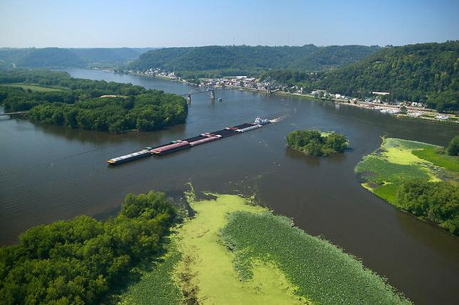 Barge on Mississippi at Lansing.