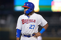 Vladimir Guerrero Jr. (47) of the Buffalo Bison during the game against the Charlotte Knights at BB&T BallPark on August 14, 2018 in Charlotte, North Carolina. The Bison defeated the Knights 14-5.  (Brian Westerholt/Four Seam Images)