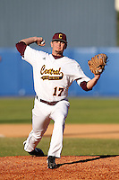 Central Michigan Chippewas Bryce Morrow #17 during a game vs. the Pittsburgh Panthers at Chain of Lakes Park in Winter Haven, Florida;  March 11, 2011.  Pittsburgh defeated Central Michigan 19-2.  Photo By Mike Janes/Four Seam Images