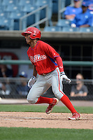 Garrett Whitley (24) of Niskayuna High School in Niskayuna, New York playing for the Philadelphia Phillies scout team during the East Coast Pro Showcase on July 30, 2014 at NBT Bank Stadium in Syracuse, New York.  (Mike Janes/Four Seam Images)