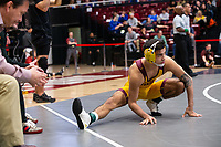 STANFORD, CA - March 7, 2020: Brandon Courtney of Arizona State University during the 2020 Pac-12 Wrestling Championships at Maples Pavilion.