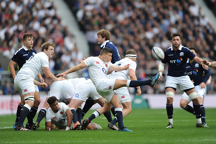 Ben Youngs of England sends up a box kick during the RBS 6 Nations match between England and Scotland at Twickenham Stadium on Saturday 11th March 2017 (Photo by Rob Munro/Stewart Communications)