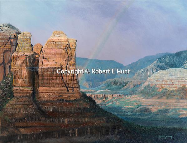 "Scenic rock landscape outside of Sedona, Arizona, under a rainbow after a desert rain. Oil on canvas, 20"" x 26""."
