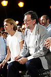 Mariano Rajoy, Spain's acting Prime Minister of the caretaker government and Popular Party leader and party candidate and Maria Dolores de Cospedal, Secretary General of the Popular Party during the party final campaign meeting. June 24,2016. (ALTERPHOTOS/Acero)