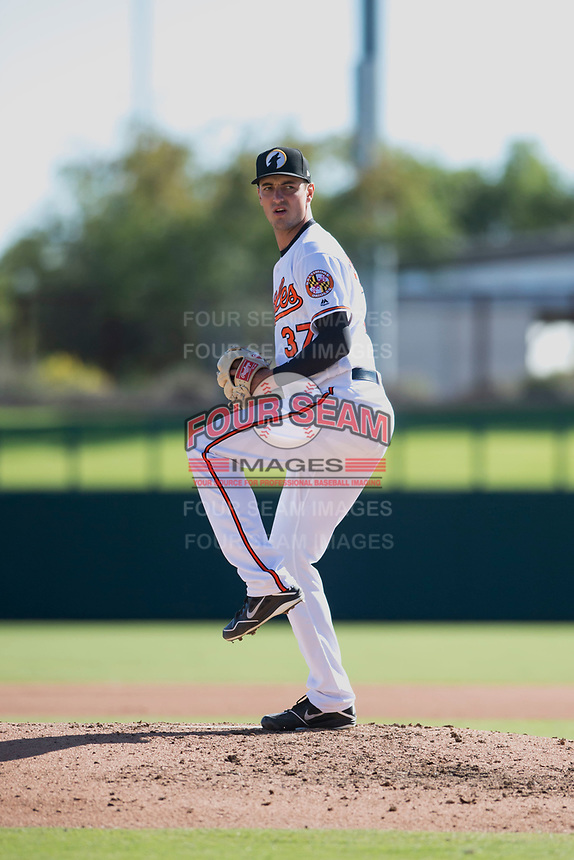 Glendale Desert Dogs relief pitcher Tanner Chleborad (37), of the Baltimore Orioles organization, delivers a pitch during an Arizona Fall League game against the Mesa Solar Sox at Camelback Ranch on November 12, 2018 in Glendale, Arizona. Glendale defeated Mesa 4-2. (Zachary Lucy/Four Seam Images)