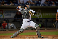 Pensacola Blue Wahoos catcher Ryan Jeffers (8) throws down to second base during a Southern League game against the Mobile BayBears on July 25, 2019 at Hank Aaron Stadium in Pensacola, Florida.  Pensacola defeated Mobile 3-2 in the second game of a doubleheader.  (Mike Janes/Four Seam Images)