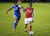 Matty Willock of Gillingham and Arsenal's Tim Akinola challenge for the ball during Gillingham vs Arsenal Under-21, Papa John's Trophy Football at the MEMS Priestfield Stadium on 10th November 2020
