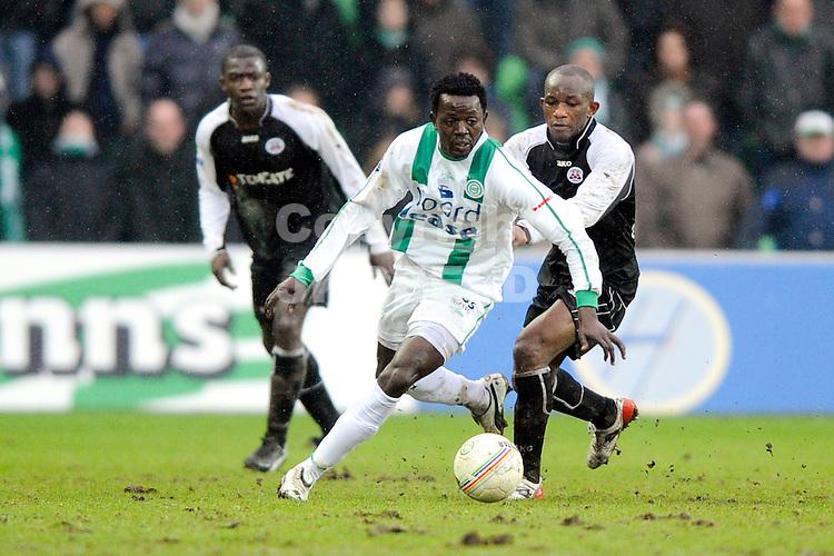 voetbal fc groningen - heracles eredivisie seizoen 2008-2009 15-02-2009 ajilore met quansah.  fotograaf jan kanning. . .
