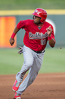 Memphis Redbirds first baseman Xavier Scruggs (16) runs to third base during the second game of a Pacific Coast League doubleheader against the Round Rock Express on August 3, 2014 at the Dell Diamond in Round Rock, Texas. The Redbirds defeated the Express 7-6. (Andrew Woolley/Four Seam Images)