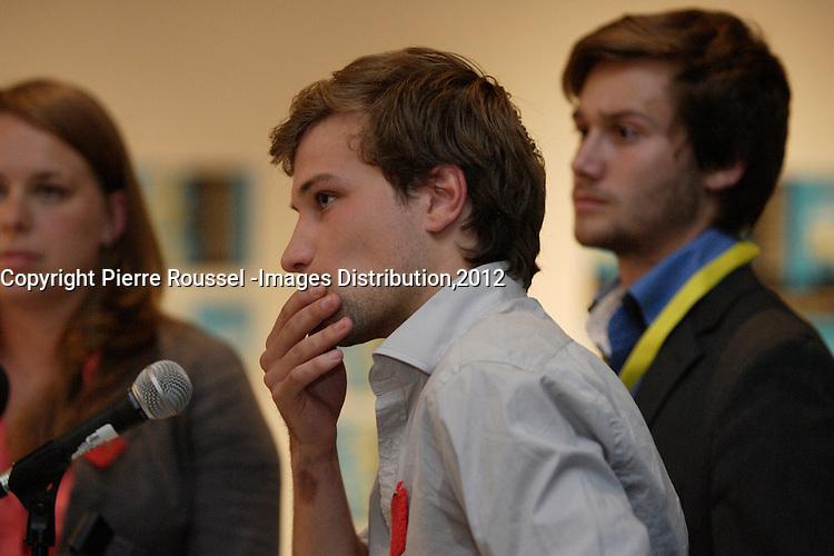 August 16 2012 file photo - Montreal, Quebec, CANADA -  students leader Martine Desjardins (R)<br />Leo Bureau-Blouin (M) and Gabriel Nadeau-Dubois (R) discuss with tv host  Simon Durivage