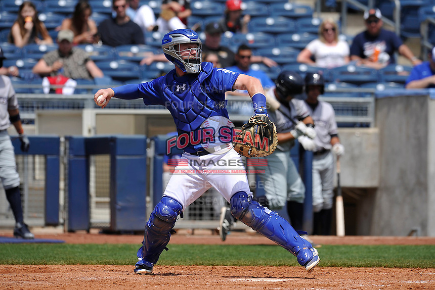 Tulsa Drillers catcher Paul Hoenecke (14) throws to second base during the game against the Northwest Arkansas Naturals at Oneok Stadium on May 1, 2016 in Tulsa, Oklahoma.  Northwest Arkansas won 7-5.  (Dennis Hubbard/Four Seam Images)