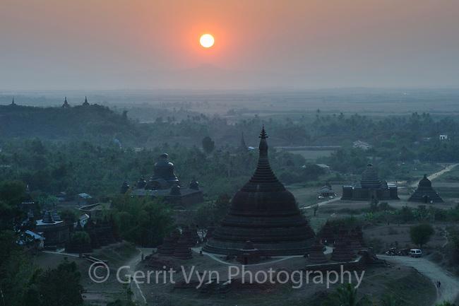 Ancient budhist temples at Mrauk-U. Rakhine State, Myanmar.