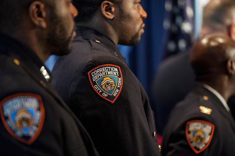 New York City Mayor Bill De Blasio pays a visit to Rikers Island to briefly tour the facilities and lead a press conference on the heel of several reforms being implemented at the facilities by the New York City Department of Correction. The mayor is joined by members of the Department of Correction.<br /> <br /> Photographed on December 17, 2014 by Mark Abramson for the Wall Street Journal