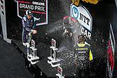 #12: Will Power, Team Penske Chevrolet celebrates winning the Big Machine Spiked Coolers Grand Prix, #51: Romain Grosjean, Dale Coyne Racing with RWR Honda, #26: Colton Herta, Andretti Autosport w/ Curb-Agajanian Honda, champagne