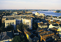 aerial photograph of the French Quarter, New Orleans, Louisiana with the Mississippi River in the background right