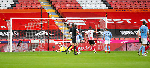 31st October 2020; Bramall Lane, Sheffield, Yorkshire, England; English Premier League Football, Sheffield United versus Manchester City; Sheffield United Goalkeeper Aaron Ramsdale is beaten by a shot from Kyle Walker of Manchester City as they take the lead 0-1 in the 28th minute