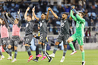 SAINT PAUL, MN - MAY 12: Minnesota United FC celebrates the win during a game between Vancouver Whitecaps and Minnesota United FC at Allianz Field on May 12, 2021 in Saint Paul, Minnesota.