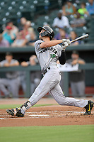 First baseman Jacob Gonzalez (18) of the Augusta GreenJackets bats in a game against the Columbia Fireflies on Thursday, July 11, 2019 at Segra Park in Columbia, South Carolina. Columbia won, 5-2. (Tom Priddy/Four Seam Images)