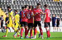 Lincoln City players, from left, Jorge Grant, Lewis Montsma, Conor McGrandles at the end of the game<br /> <br /> Photographer Chris Vaughan/CameraSport<br /> <br /> The EFL Sky Bet League One - Saturday 12th September 2020 - Lincoln City v Oxford United - LNER Stadium - Lincoln<br /> <br /> World Copyright © 2020 CameraSport. All rights reserved. 43 Linden Ave. Countesthorpe. Leicester. England. LE8 5PG - Tel: +44 (0) 116 277 4147 - admin@camerasport.com - www.camerasport.com - Lincoln City v Oxford United