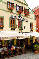 Town center square shops and architecture, Cesky Krumlov, Czech Republic
