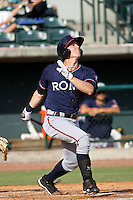 Rome Braves outfielder Cory Harrilchak #4 at bat during a game vs. the Charleston Riverdogs at Joseph P. Riley Jr. Ballpark in Charleston, South Carolina on June 6, 2010.   Charleston defeated Rome by the score of 4-2.  Photo By Robert Gurganus/Four Seam Images