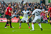 Saturday 17 August 2013<br /> <br /> Pictured: Wayne Routledge of Swansea moves the ball forwars for the swans<br /> <br /> Re: Barclays Premier League Swansea City v Manchester United at the Liberty Stadium, Swansea, Wales