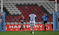 12th February 2021; Kingsholm Stadium, Gloucester, Gloucestershire, England; English Premiership Rugby, Gloucester versus Bristol Bears; Santiago Carreras of Gloucester celebrates under the posts after scoring his try