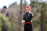 WALLACE, NC - MARCH 09: Zhangcheng Guo of Boston University waits to tee off on the 13th hole of the River Course at River Landing Country Club on March 09, 2020 in Wallace, North Carolina.
