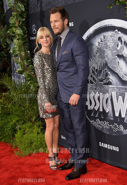 """Chris Pratt & wife Anna Faris at the world premiere of his movie """"Jurassic World"""" at the Dolby Theatre, Hollywood.<br /> June 10, 2015  Los Angeles, CA<br /> Picture: Paul Smith / Featureflash"""