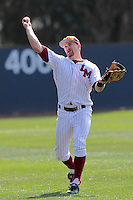 Matt Lowenstein #25 of the Loyola Marymount Lions in the field against the Cal Poly Mustangs at Page Stadium on February 25, 2012 in Los Angeles,California. Cal Poly defeated LMU 12-5.(Larry Goren/Four Seam Images)
