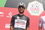 Black Jersey holder Tony Gallopin (FRA) AG2R Citroen Team at sign on before the start of Stage 7 of the 2021 UAE Tour running 165km from Yas Island to Abu Dhabi Breakwater, Abu Dhabi, UAE. 27th February 2021.<br /> Picture: LaPresse/Fabio Ferrari   Cyclefile<br /> <br /> All photos usage must carry mandatory copyright credit (© Cyclefile   LaPresse/Fabio ferrari)