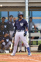 FCL Yankees Alexander Vargas (14) bats during a game against the FCL Tigers on June 28, 2021 at Tigertown in Lakeland, Florida.  (Mike Janes/Four Seam Images)