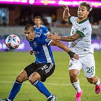 SAN JOSE, CA - MAY 15: Luciano Abecasis #2 of the San Jose Earthquakes challenges Pablo Bonilla #28 of the Portland Timbers during a game between San Jose Earthquakes and Portland Timbers at PayPal Park on May 15, 2021 in San Jose, California.