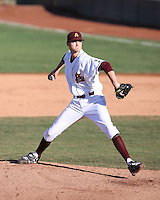 Kramer Champlin #21 of the Arizona State Sun Devils pitches against the University of New Mexico Lobos in game three of the 2011 season opening series on February 20, 2011 at Packard Stadium, Arizona State University, in Tempe, Arizona..Photo by:  Bill Mitchell/Four Seam Images.