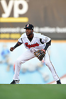 Nashville Sounds shortstop Hector Gomez (14) during a game against the Omaha Storm Chasers on May 19, 2014 at Herschel Greer Stadium in Nashville, Tennessee.  Nashville defeated Omaha 5-4.  (Mike Janes/Four Seam Images)