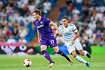 Jordan Veretout (l) of ACF Fiorentina competes for the ball with Lucas Vazquez of Real Madrid during the Santiago Bernabeu Trophy 2017 match between Real Madrid and ACF Fiorentina at the Santiago Bernabeu Stadium on 23 August 2017 in Madrid, Spain. Photo by Diego Gonzalez / Power Sport Images