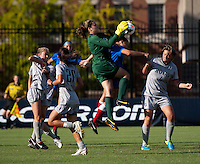 Emma Newins (1) of Georgetown makes a save during the game at Shaw Field on the campus of Georgetown University in Washington, DC.  Georgetown tied DePaul, 1-1, in double overtime.