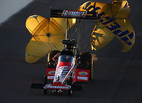 Feb 21, 2014; Chandler, AZ, USA; NHRA top fuel dragster driver Leah Pritchett during qualifying for the Carquest Auto Parts Nationals at Wild Horse Pass Motorsports Park. Mandatory Credit: Mark J. Rebilas-USA TODAY Sports