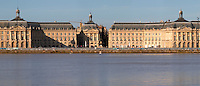 On Les Quais. Place de la Bourse. View from opposite river side. Bordeaux city, Aquitaine, Gironde, France