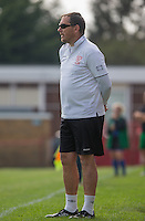 Flackwell Heath Ladies Manager Damian Atkins during the Thames Valley Counties Women's Football League (TVCWFL) match between Flackwell Heath Ladies and Laurel Park Vipers at Wilks Park, Blackwell Heath, England on 11 October 2015. Photo by Andy Rowland.