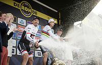 podium festivities by:<br /> 1/ Peter Sagan (SVK/Tinkoff)<br /> 2/ Fabian Cancellara (SUI/Trek-Segafredo)<br /> 3/ Sep Vanmarcke (BEL/LottoNL-Jumbo)<br /> <br /> 100th Ronde van Vlaanderen 2016