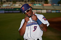 Jacksonville Jumbo Shrimp Anfernee Seymour (9) poses for the camera during warmups before a Southern League game against the Mobile BayBears on May 28, 2019 at Baseball Grounds of Jacksonville in Jacksonville, Florida.  Mobile defeated Jacksonville 2-1.  (Mike Janes/Four Seam Images)