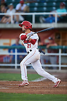 Orem Owlz Will Wilson (21) at bat during a Pioneer League game against the Idaho Falls Chukars at The Home of the OWLZ on August 13, 2019 in Orem, Utah. Orem defeated Idaho Falls 3-1. (Zachary Lucy/Four Seam Images)