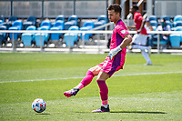 SAN JOSE, CA - APRIL 24: JT Marcinkowski #1 of the San Jose Earthquakes passes the ball during a game between FC Dallas and San Jose Earthquakes at PayPal Park on April 24, 2021 in San Jose, California.