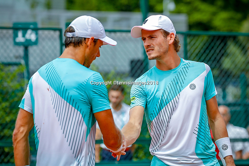 Paris, France, 31 May, 2018, Tennis, French Open, Roland Garros, Men's doubles, Wesley Koolhof (NED) (R) and Artem Sitak (NZL)<br /> Photo: Henk Koster/tennisimages.com