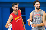 Joan Sastre (l) and Javier Beiran during the training of Spanish National Team of Basketball. August 06, 2019. (ALTERPHOTOS/Francis González)